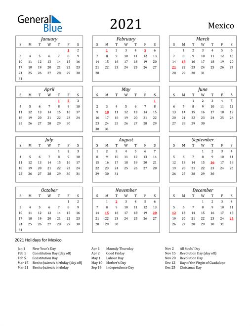 2021 Mexico Holiday Calendar