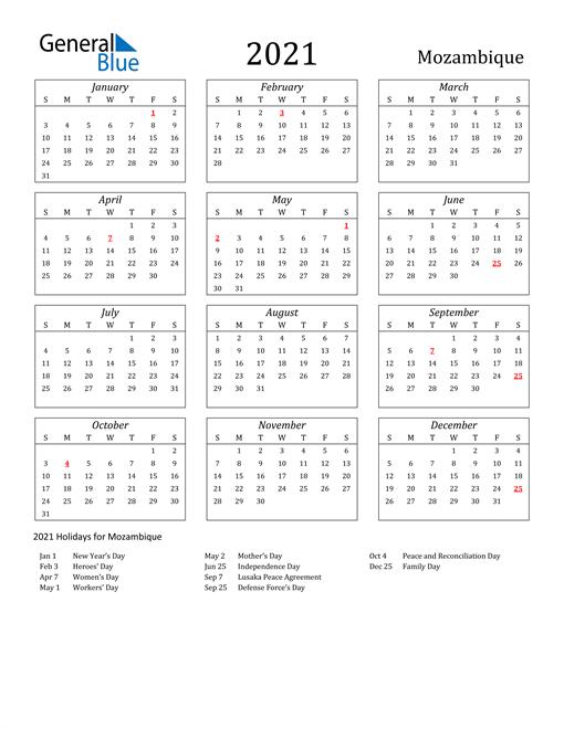 2021 Mozambique Holiday Calendar
