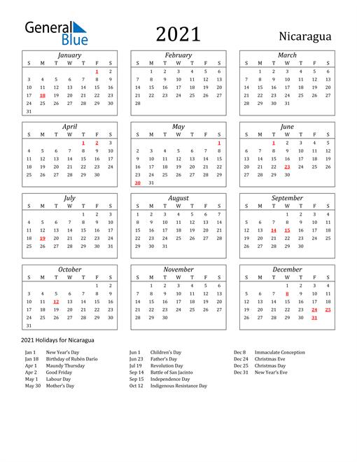 2021 Nicaragua Holiday Calendar