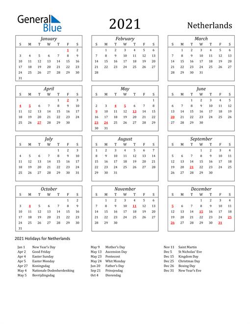 2021 Netherlands Holiday Calendar