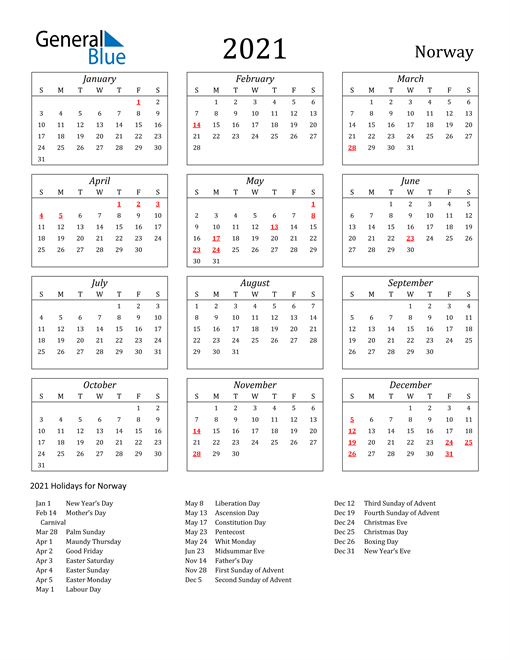 Image of Norway 2021 Calendar Streamlined Version with Holidays