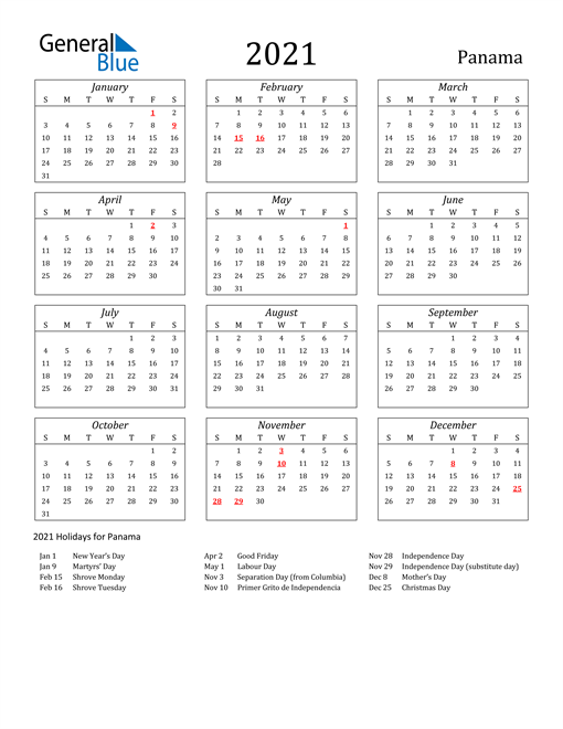 2021 Panama Holiday Calendar
