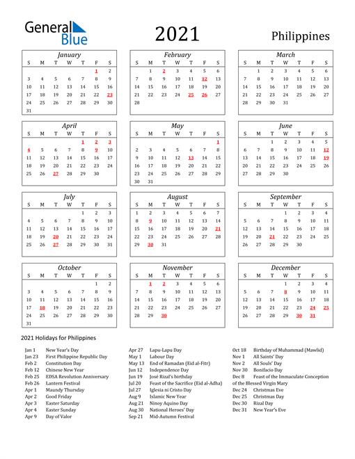 2021 Philippines Holiday Calendar