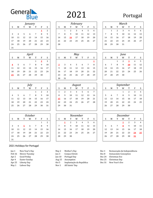 2021 Portugal Holiday Calendar