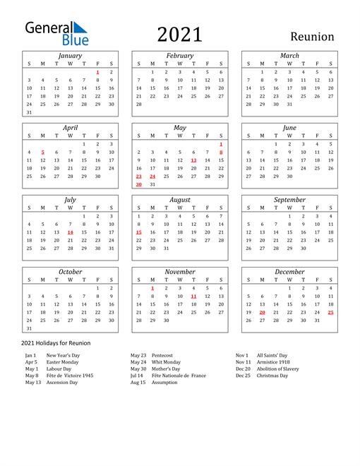 2021 Reunion Holiday Calendar