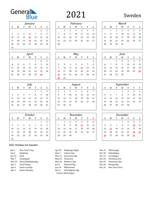 Image of Sweden 2021 Calendar Streamlined Version with Holidays