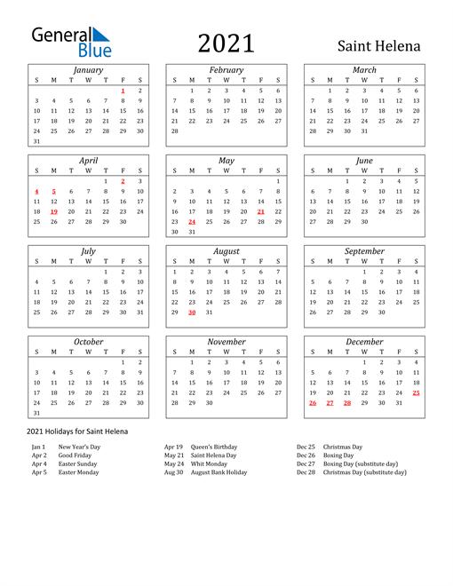 2021 Saint Helena Holiday Calendar