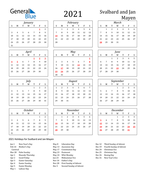 2021 Svalbard and Jan Mayen Holiday Calendar