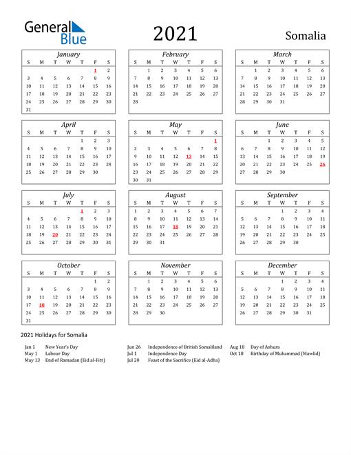 Image of Somalia 2021 Calendar Streamlined Version with Holidays