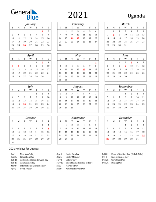 2021 Uganda Holiday Calendar