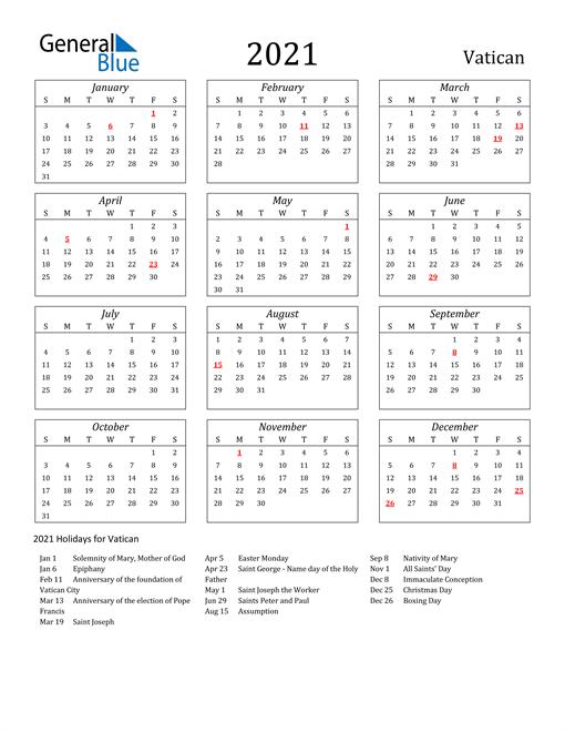 2021 Vatican Holiday Calendar