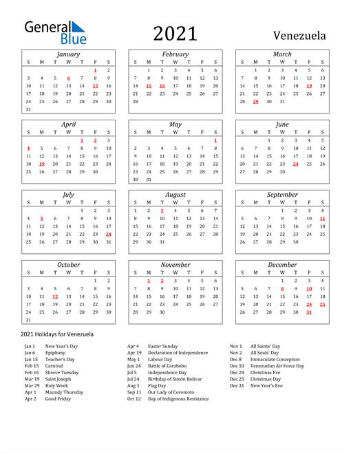 2021 Venezuela Holiday Calendar