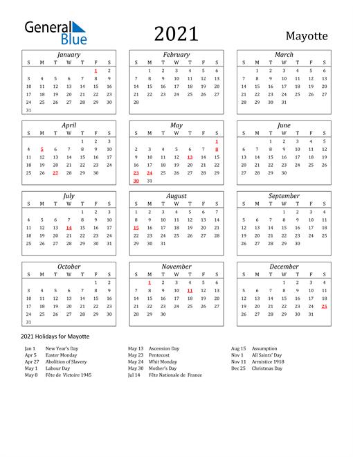 2021 Mayotte Holiday Calendar