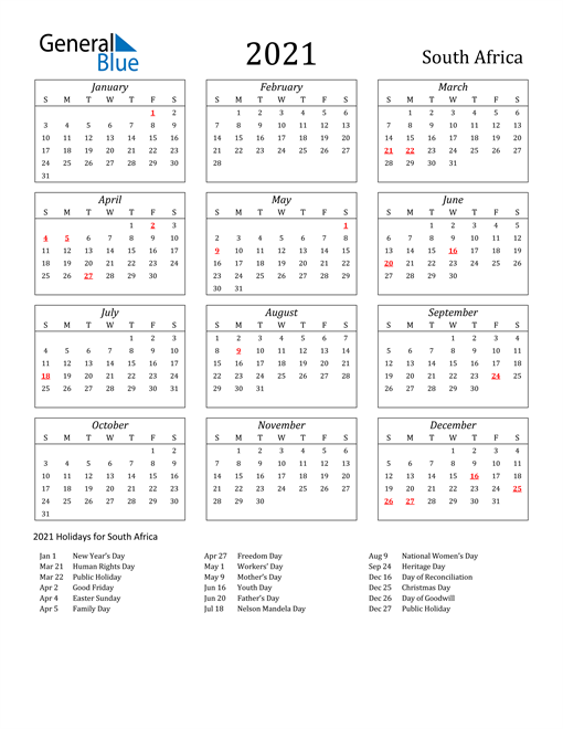 Image of South Africa 2021 Calendar Streamlined Version with Holidays