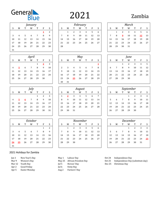 2021 Zambia Holiday Calendar