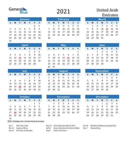 Image of United Arab Emirates 2021 Calendar Two-Tone Blue with Holidays