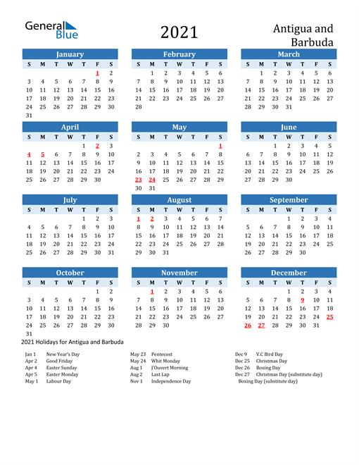 Printable Calendar 2021 with Antigua and Barbuda Holidays