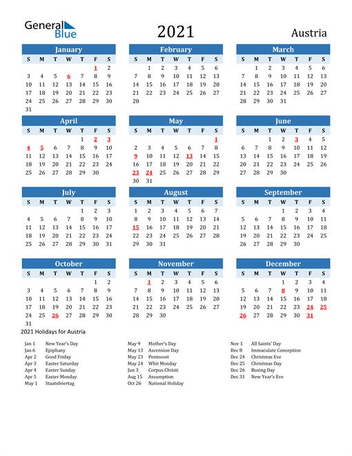 Image of Austria 2021 Calendar Two-Tone Blue with Holidays