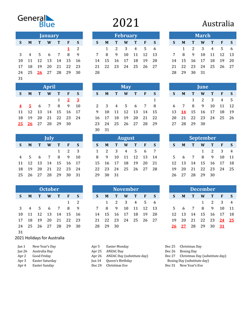 Image of Australia 2021 Calendar Two-Tone Blue with Holidays