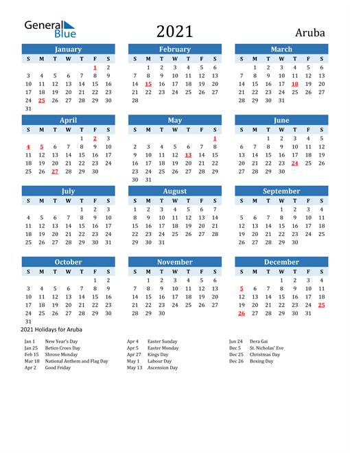 Printable Calendar 2021 with Aruba Holidays
