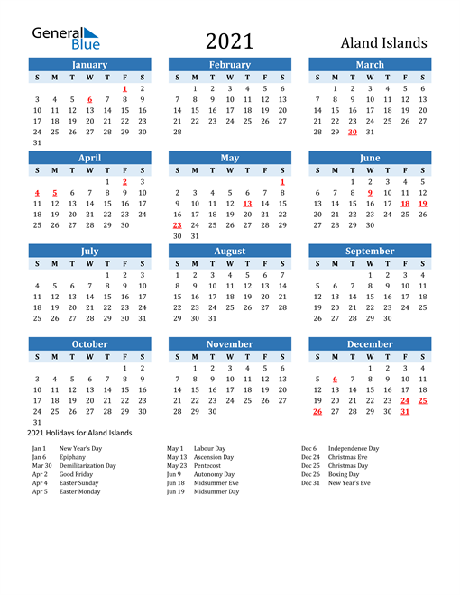 Image of Aland Islands 2021 Calendar Two-Tone Blue with Holidays