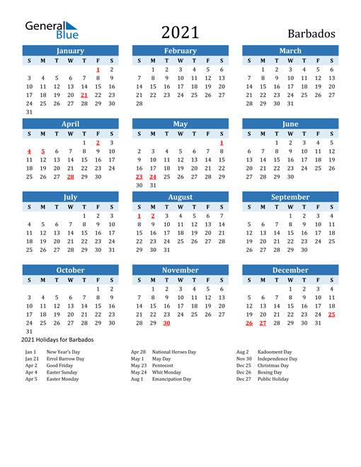 Printable Calendar 2021 with Barbados Holidays