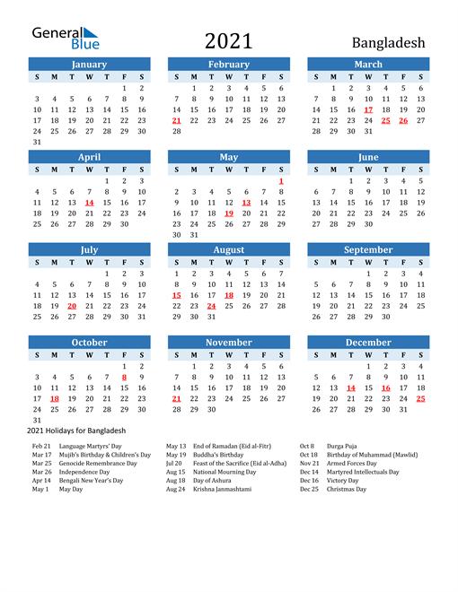 Printable Calendar 2021 with Bangladesh Holidays