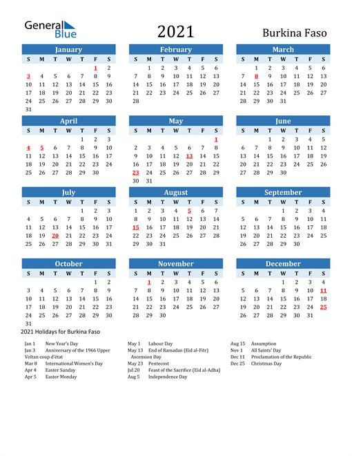 Printable Calendar 2021 with Burkina Faso Holidays