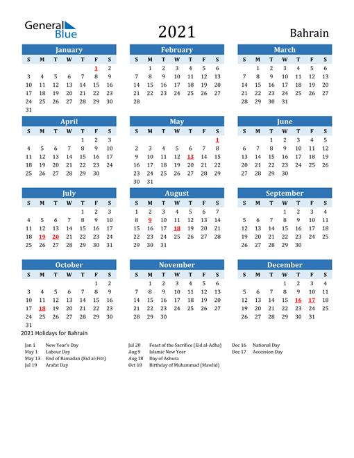 Printable Calendar 2021 with Bahrain Holidays