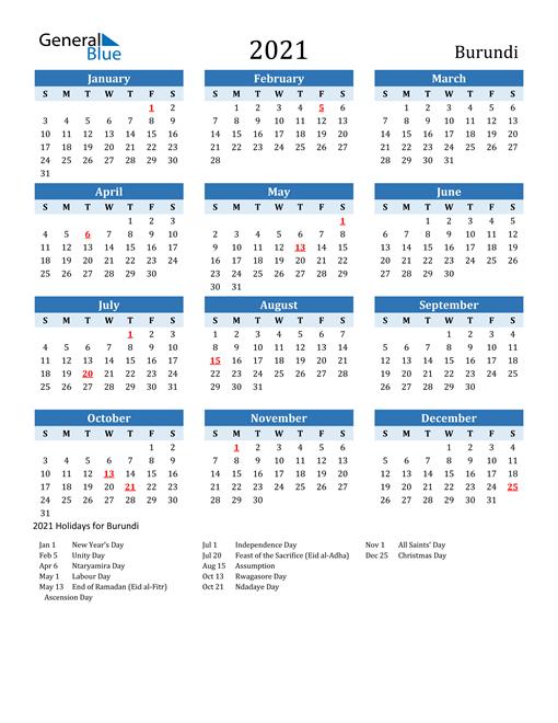 Printable Calendar 2021 with Burundi Holidays