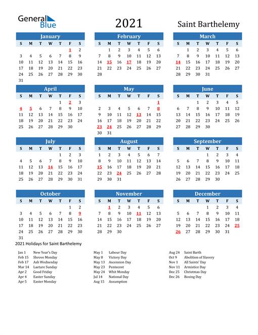 Printable Calendar 2021 with Saint Barthelemy Holidays