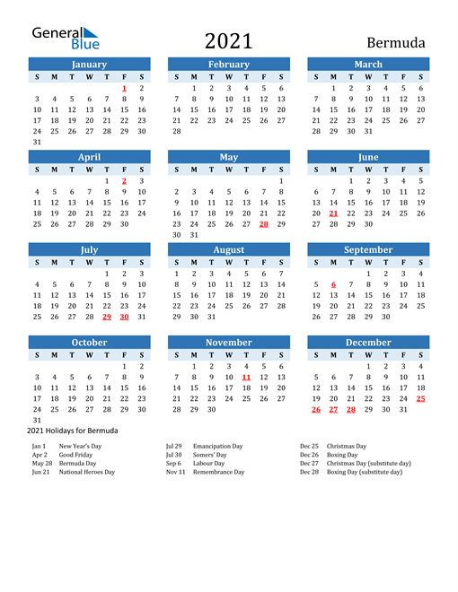 Printable Calendar 2021 with Bermuda Holidays