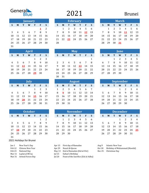 Printable Calendar 2021 with Brunei Holidays