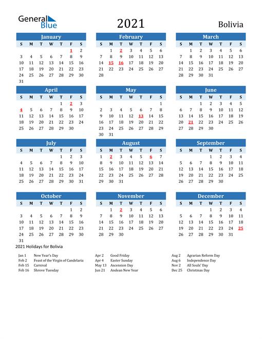 Printable Calendar 2021 with Bolivia Holidays
