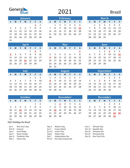 Printable Calendar 2021 with Brazil Holidays