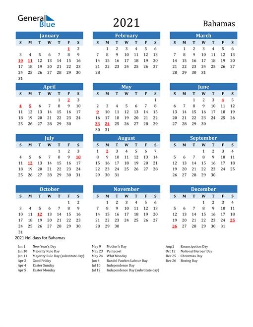 Image of Bahamas 2021 Calendar Two-Tone Blue with Holidays