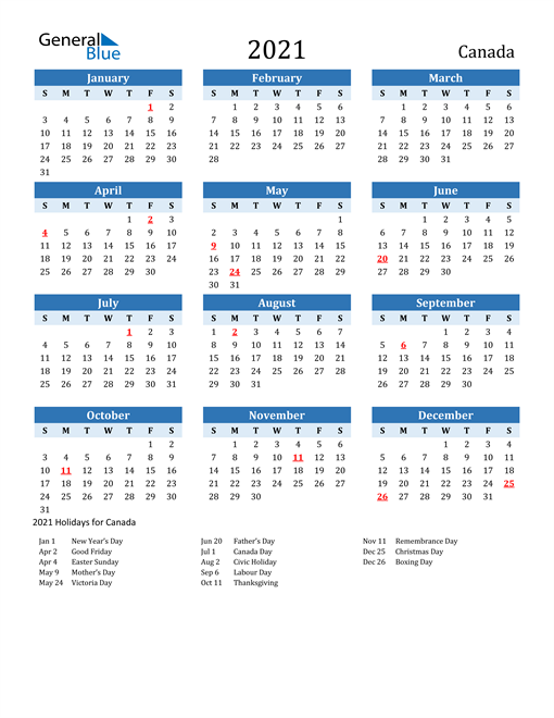 2021 Calendar   Canada with Holidays