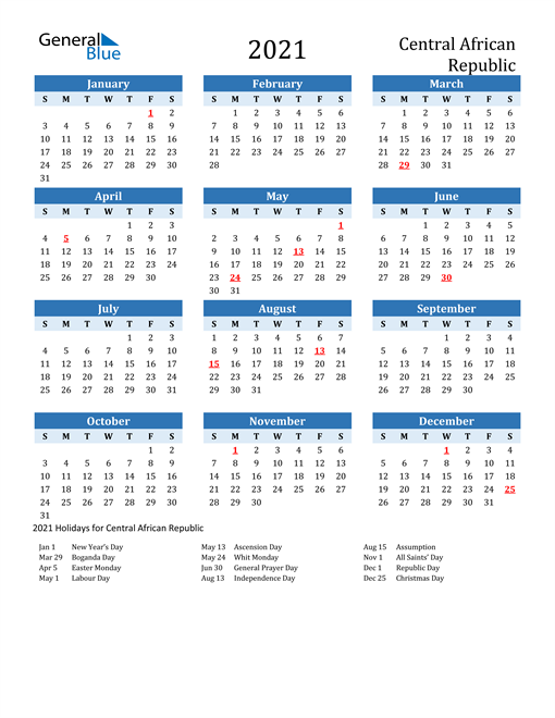 Printable Calendar 2021 with Central African Republic Holidays