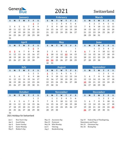 Image of Switzerland 2021 Calendar Two-Tone Blue with Holidays