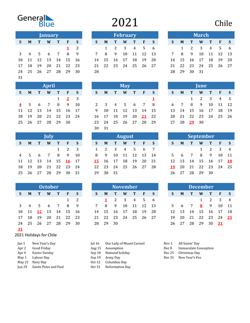 2021 Calendar - Chile with Holidays