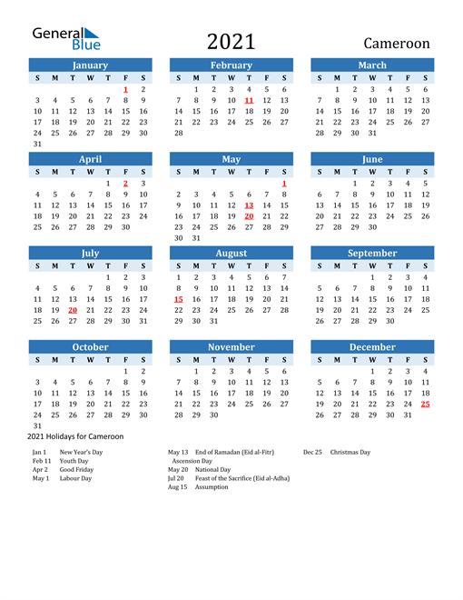 Printable Calendar 2021 with Cameroon Holidays