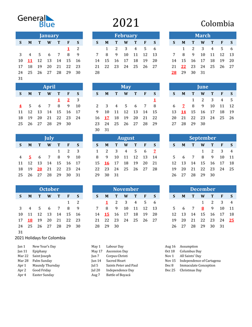 Image of Colombia 2021 Calendar Two-Tone Blue with Holidays