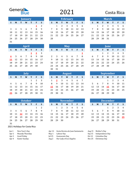 Image of Costa Rica 2021 Calendar Two-Tone Blue with Holidays