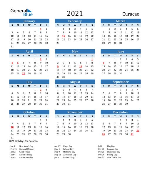 Printable Calendar 2021 with Curacao Holidays