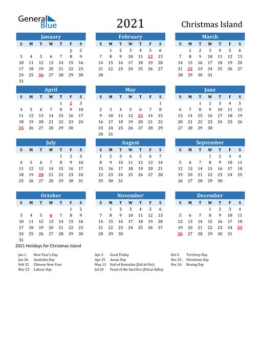Printable Calendar 2021 with Christmas Island Holidays
