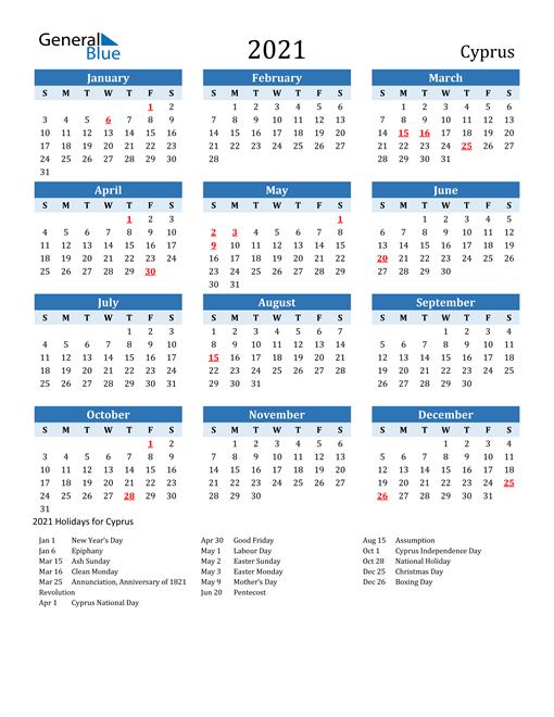 Printable Calendar 2021 with Cyprus Holidays