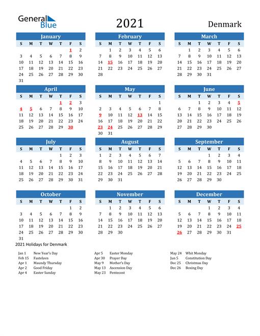 Printable Calendar 2021 with Denmark Holidays