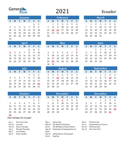 Printable Calendar 2021 with Ecuador Holidays