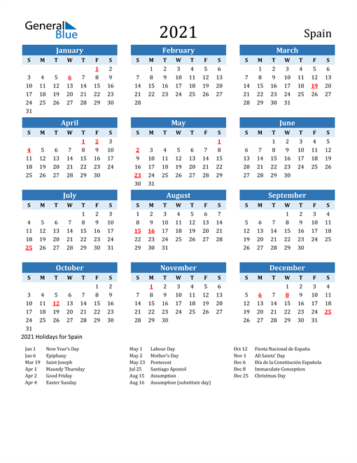 Image of Spain 2021 Calendar Two-Tone Blue with Holidays