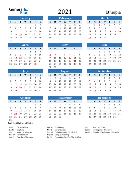 Printable Calendar 2021 with Ethiopia Holidays